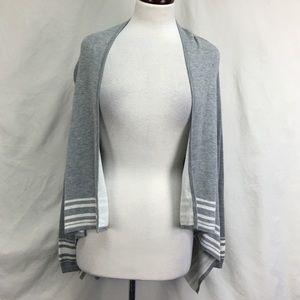 Ann Taylor LOFT Gray Striped Open Front Cardigan
